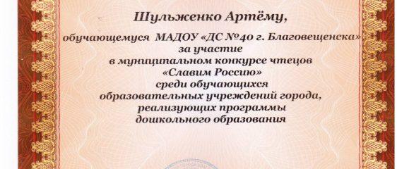 Шульженко Артем апрель 2017